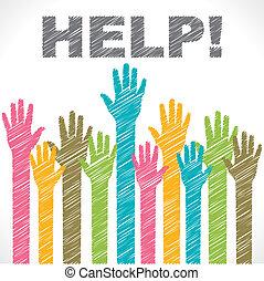красочный, помогите, хотеть, рука