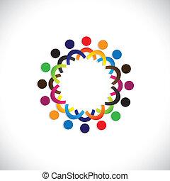 красочный, сообщество, concepts, playing, дружба, наемный рабочий, люди, социальное, shows, вектор, &, unions, разнообразие, sharing, icons(symbols)., kids, работник, иллюстрация, graphic-, как, концепция, и т.д