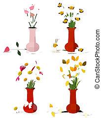 красочный, цветы, лето, vases, весна