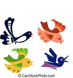красочный, birds, иллюстрация, isolated, задавать, объект, вектор