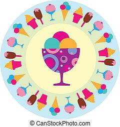 красочный, ice-creams, icons, иллюстрация, вкусно, vectro