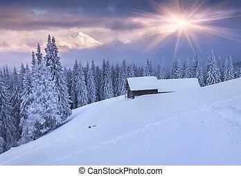 красочный, mountains., драматичный, восход, зима, sky.