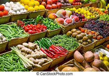 красочный, vegetables, фрукты, различный, fruits, свежий, рынок