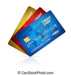 кредит, карта, коллекция, isolated