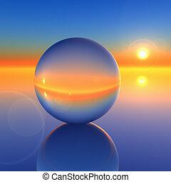 кристалл, абстрактные, мяч, будущее, горизонт