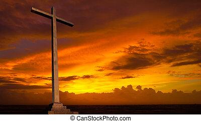 кристиан, background., sky., пересекать, религия, закат солнца