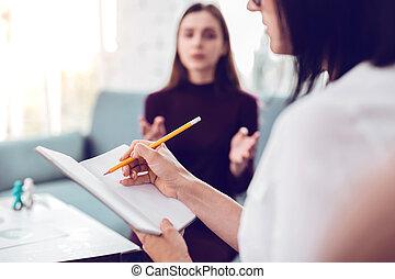 крупный план, пациент, notes, посещение, терапевт, в течение, изготовление