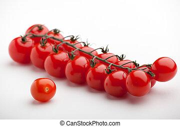 крупный план, созревший, вишня, помидоры, задний план, белый, красный, гроздь