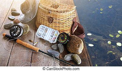 крупный план, шапка, оборудование, ловит рыбу