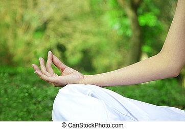 крупным планом, женщина, йога, поза, руки