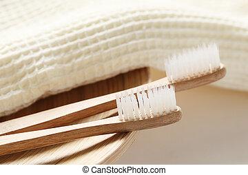 крупным планом, зубная щетка, деревянный, полотенце