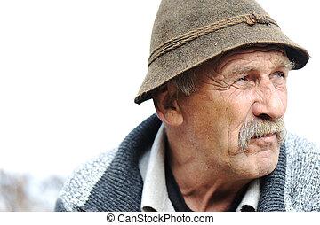крупным планом, художественный, серый, фото, человек, aged, усы