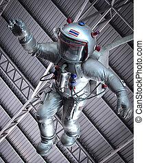 крыша, под, астронавт