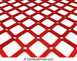куб, квадрат, красный, задний план, 3d