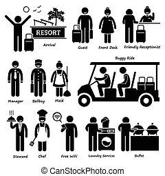 курорт, гостиница, работник, вилла, турист