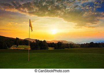 курс, гольф, восход