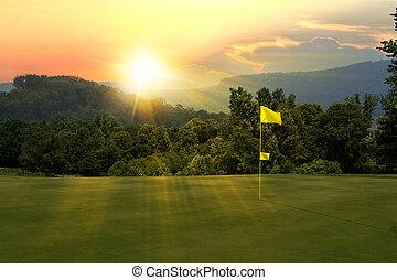 курс, гольф, закат солнца