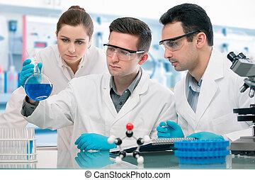 лаборатория, исследование, scientists, экспериментирование