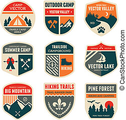 лагерь, ретро, badges