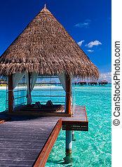 лагуна, тропический, спа, overwater, bungalows