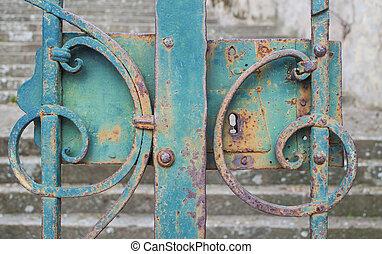 лазурь, ворота, железо, закрыто
