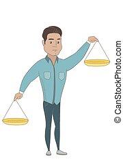 латиноамериканец, scale., баланс, держа, бизнесмен