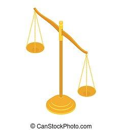 латунь, баланс, справедливость, isolated, масштаб, золото, белый, адвокат, background., знак