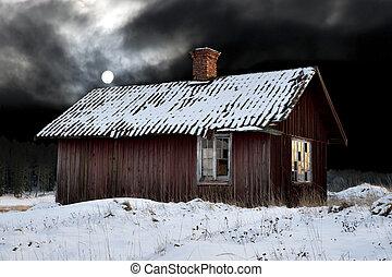 лачуга, вечер, старый, зима