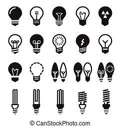 легкий, задавать, bulbs., колба, значок