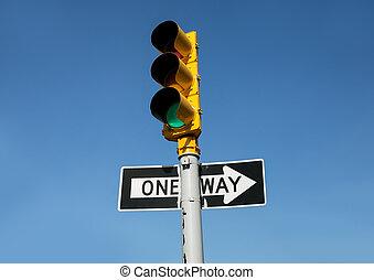 легкий, знак, трафик, путь, один, дорога