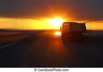 легковые автомобили, закат солнца, шоссе