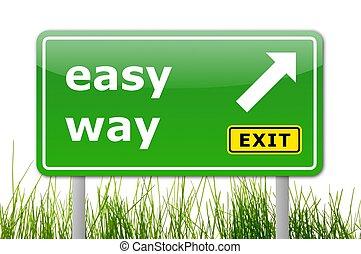 легко, зеленый, путь, дорога, знак