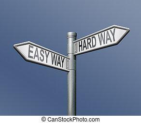 легко, hardway, дорога, стрела, знак