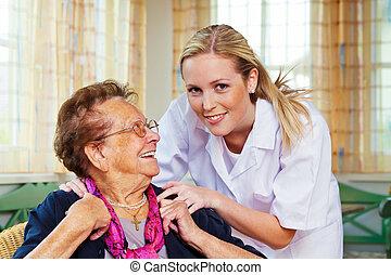 леди, главная, старый, забота