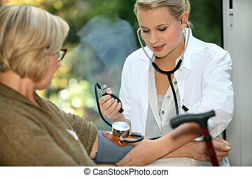 леди, принятие, старый, медсестра, забота