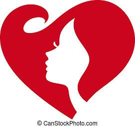 леди, силуэт, женский пол, красный, сердце