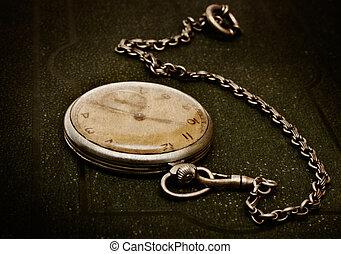 лежащий, грубый, поверхность, старый, цепь, зеленый, часы