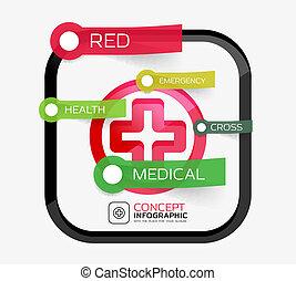 лекарственное средство, концепция, пересекать, вектор, infographic