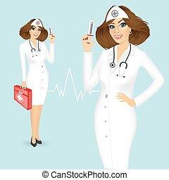 лекарственное средство, шприц, грудь, медсестра