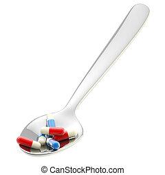лекарственное средство, metall, часть, ложка, isolated