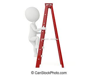 лестница, 3d, персонаж, вверх, гуманоид