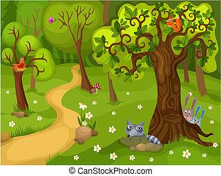 лес, задний план