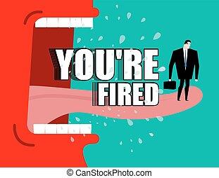 летать, вы, poster., fired., yells, dismissal, shouts., слюна, босс, директор, сердитый, красный