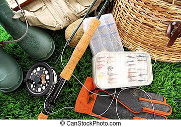 летать, оборудование, использование, готов, ловит рыбу