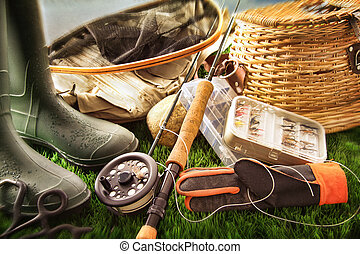 летать, оборудование, трава, ловит рыбу