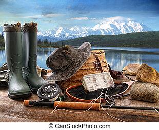 летать, mountains, палуба, озеро, оборудование, ловит рыбу, посмотреть