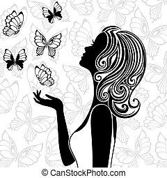 летающий, butterflies, женщина, силуэт, молодой