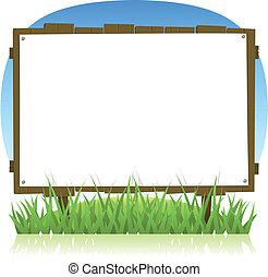 лето, весна, дерево, страна, рекламный щит, или