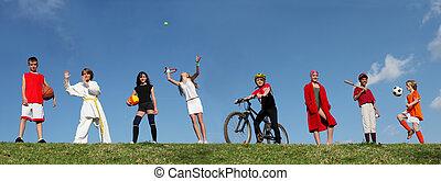 лето, виды спорта, лагерь, kids