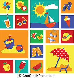 лето, задавать, красочный, icons